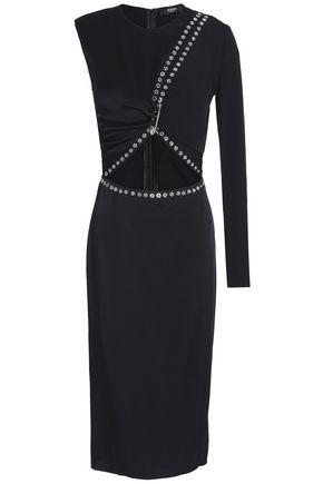 VERSUS VERSACE Embellished cutout satin-crepe dress