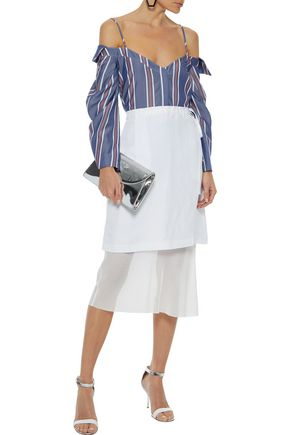 NICHOLAS Cold-shoulder striped Tencel-chambray top