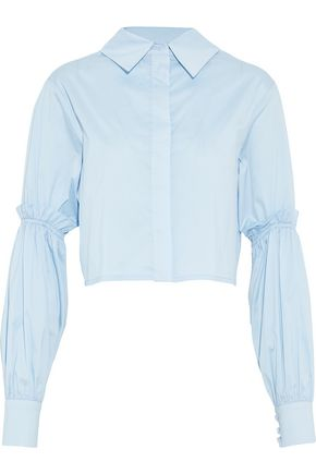 Cropped Gathered Cotton Blend Poplin Shirt by Nicholas
