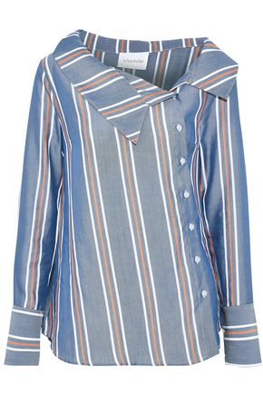 NICHOLAS Asymmetric striped Tencel-poplin shirt
