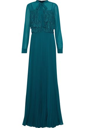 MIKAEL AGHAL Pussy-bow lace-paneled pleated chiffon gown