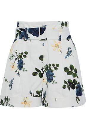 NICHOLAS Belted floral-print denim shorts