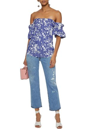 NICHOLAS Off-the-shoulder embroidered cotton-blend chambray top