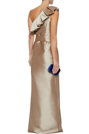 MIKAEL AGHAL One-shoulder ruffled duchesse-satin gown