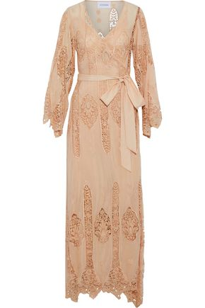 NICHOLAS Guipure lace-paneled cotton and silk-blend wrap maxi dress