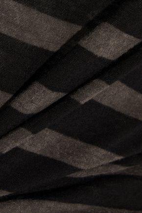 RTA Anais one-shoulder striped cotton and cashmere-blend T-shirt