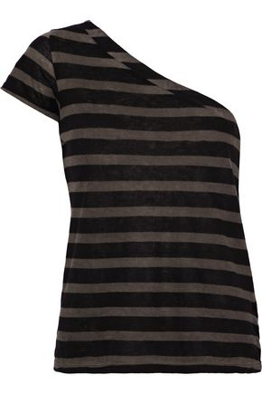 RTA Anais one-shoulder striped cotton and cashmere-blend T-shirt