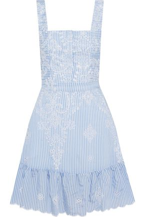 NICHOLAS Embroidered striped broderie anglaise mini dress