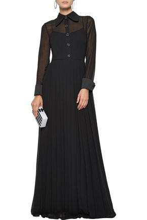 MIKAEL AGHAL Crystal-embellished chiffon and crepe de chine gown