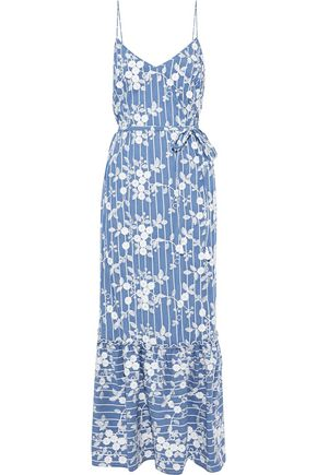 NICHOLAS Embroidered cotton-blend chambray maxi slip dress