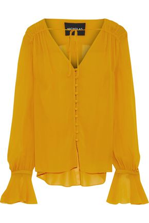 NICHOLAS Bow-detailed silk-georgette blouse