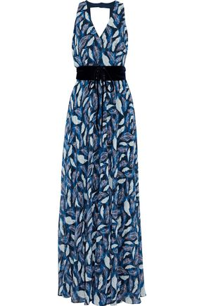 MIKAEL AGHAL Belted printed chiffon gown