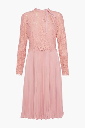 MIKAEL AGHAL Layered corded lace and plissé crepe de chine dress