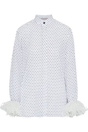 CHRISTOPHER KANE Polka-dot voile-trimmed flocked cotton-poplin blouse