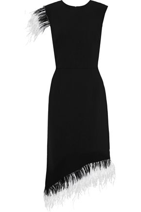 MIKAEL AGHAL Asymmetric feather-trimmed crepe dress