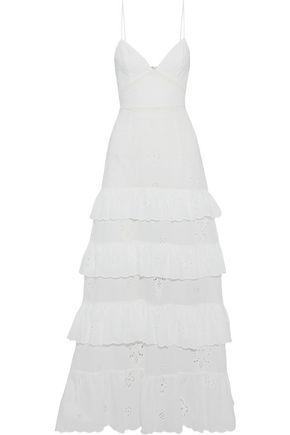 NICHOLAS Embroidered striped woven maxi dress