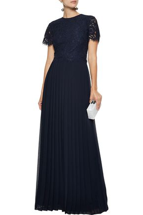 MIKAEL AGHAL Layered corded lace and chiffon gown