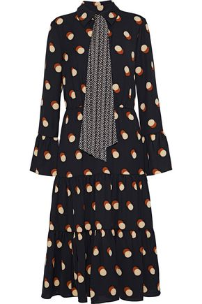 MIKAEL AGHAL Tie-neck polka-dot crepe de chine midi dress