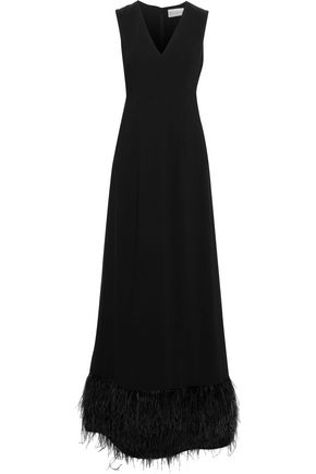 MIKAEL AGHAL Feather-trimmed cady gown