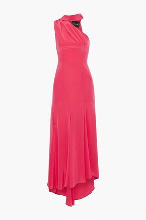 NICHOLAS One-shoulder tie-neck silk-charmeuse maxi dress