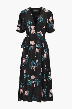 NICHOLAS Belted floral-print silk midi dress
