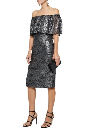 MIKAEL AGHAL Off-the-shoulder metallic guipure lace dress