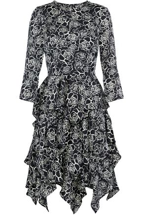 MIKAEL AGHAL Tiered floral-print crepe de chine dress