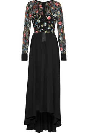 MIKAEL AGHAL Embroidered tulle-paneled washed-crepe gown