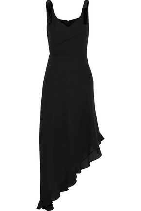 Asymmetric Bow Embellished Crepe De Chine Midi Dress by Mikael Aghal