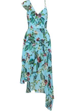 NICHOLAS Asymmetric ruffled floral-print silk-georgette midi dress