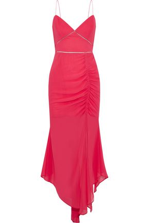 NICHOLAS Asymmetric ruched silk-chiffon midi dress