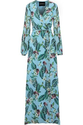 NICHOLAS Floral-print silk-georgette maxi wrap dress