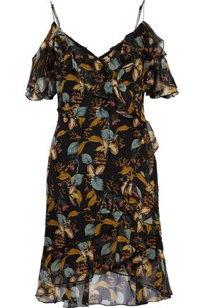 NICHOLAS Cold-shoulder ruffled printed silk-chiffon mini dress