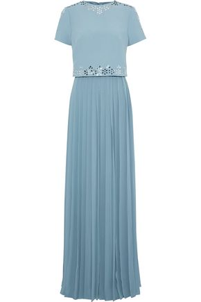 MIKAEL AGHAL Layered embellished crepe and pleated chiffon maxi dress