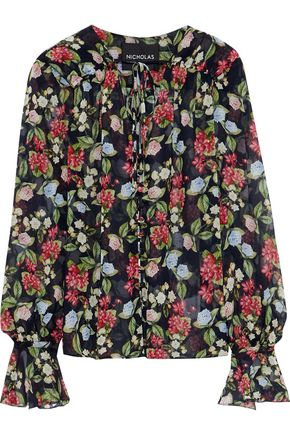 NICHOLAS Bow-detailed floral-print silk-chiffon blouse