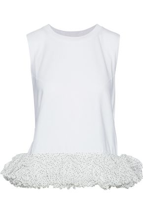 CHRISTOPHER KANE Appliquéd slub cotton-jersey top