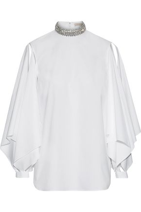 CHRISTOPHER KANE Appliquéd cotton-poplin blouse