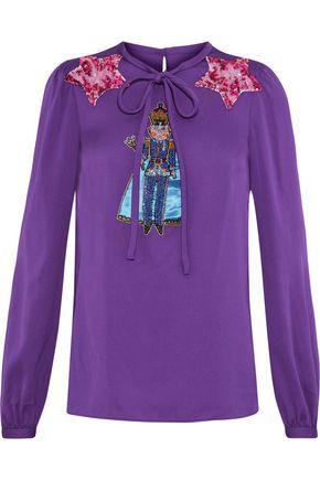 DOLCE & GABBANA Appliquéd stretch-silk blouse
