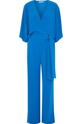 HALSTON HERITAGE Wrap-effect crepe jumpsuit