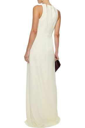 HALSTON HERITAGE Cutout tulle-trimmed crepe gown
