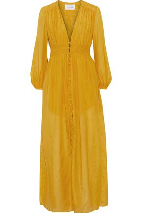 NICHOLAS Smocked cotton and silk-blend maxi dress