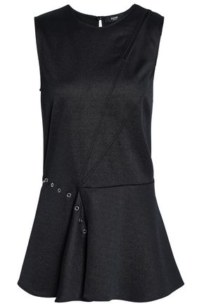 VERSUS VERSACE Embellished cutout stretch-knit peplum top