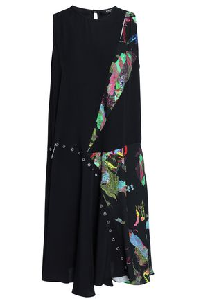 VERSUS VERSACE Eyelet-embellished printed-paneled satin-crepe dress