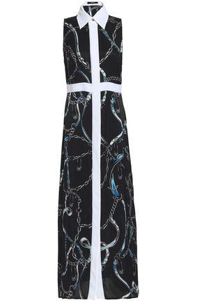 VERSUS VERSACE Printed satin-trimmed silk crepe de chine maxi dress