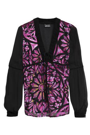 JUST CAVALLI Paneled devoré-chiffon and georgette blouse