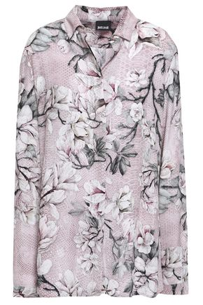 JUST CAVALLI Floral-print woven shirt