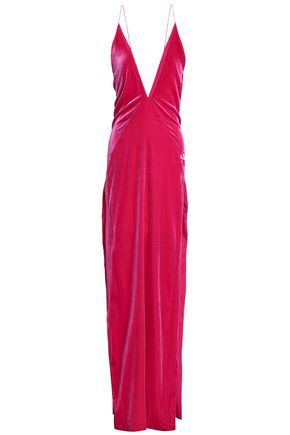 MICHAEL LO SORDO Open-back silk-blend velvet gown