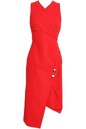VERSUS VERSACE Wrap-effect embellished crepe dress