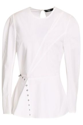 VERSUS VERSACE Embellished cutout cotton-poplin peplum top