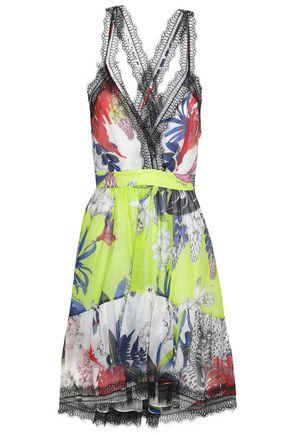 JUST CAVALLI Lace-trimmed floral-print silk-organza dress